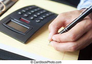 contabilidade, com, calculadora caneta