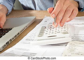 contabilidade, com, calculadora, caneta, laprop, computador