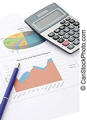 contabilidade, conceito, com, calculadora caneta, em, escritório negócio