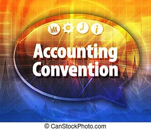 contabilidade, convenção, negócio, termo, borbulho fala, ilustração