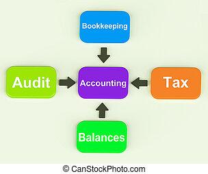 contabilidade, diagrama, mostra, contabilista, equilíbrios, e, contabilidade