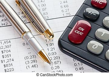 contabilidade, em, processo, com, calculadora caneta