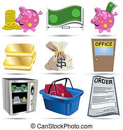 contabilidade, jogo, 4, ícones