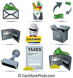 contabilidade, jogo, 5, ícones