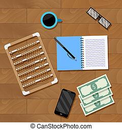 contabilidade, local trabalho, vetorial