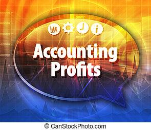 contabilidade, lucros, negócio, termo, borbulho fala, ilustração