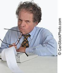 contabilidade, maduras, homem