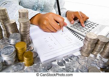 contabilidade, mulher, trabalhando