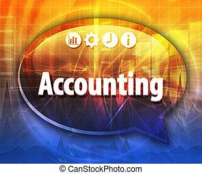 contabilidade, negócio, termo, borbulho fala, ilustração