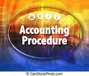 contabilidade, procedimentos, negócio, termo, borbulho fala, ilustração