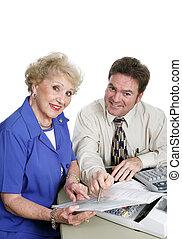contabilidade, série, -, sênior, senhora