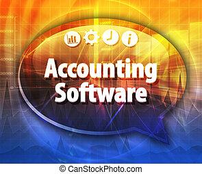contabilidade, software, negócio, termo, borbulho fala, ilustração