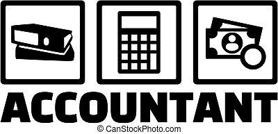 contabilista, ícones, trabalho, título