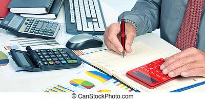contabilista, mãos, homem