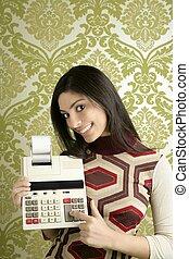 contabilista, mulher, retro, calculadora, papel parede
