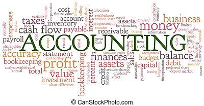 contabilità, parola, nuvola, bolla parola, etichette