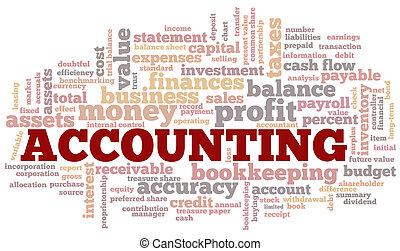 contabilità, parola, nuvola, bolla parola, etichette,...