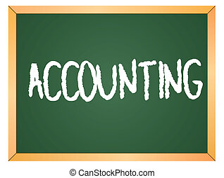 contabilità, parola, su, lavagna