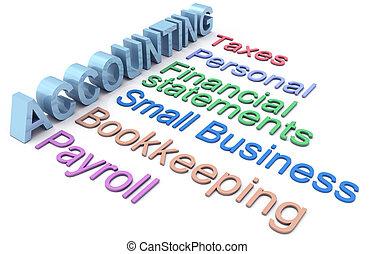 contabilità, tassa, libro paga, servizi, parole