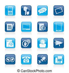 Contact and communication icons - vector icon set