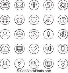 Contact and communication thin line web icons set