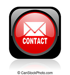 contact black and red square web glossy icon