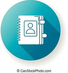 Contact book blue flat design long shadow glyph icon. Personal diary. Business organizer with bookmarks. Planning notebook. Directory for phone numbers. Email info. Silhouette RGB color illustration