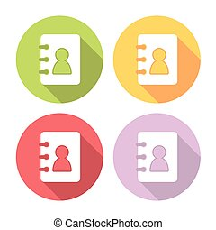 Contact Book Flat Icons Set