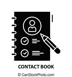 contact book icon, black vector sign with editable strokes, concept illustration
