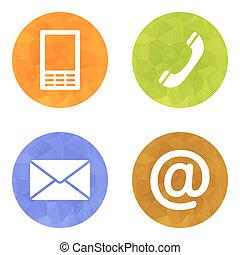 contact, boutons, ensemble, -, email, enveloppe, téléphone,...