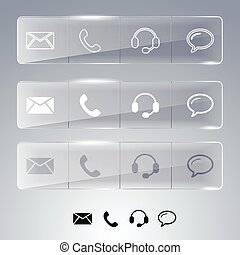 Contact buttons in flat style isolated on white background, vector illustration