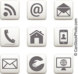 Contact buttons set, e-mail icons for website