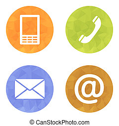 Contact buttons set - email, envelope, phone, mobile icons -...
