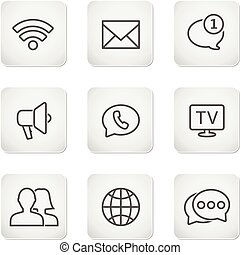 Contact buttons set - mobile icons. Vector illustration.