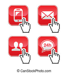 Contact buttons set with cursor