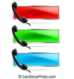 Contact call illustration. - Set of three contact call signs...
