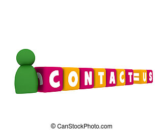 contact, caractère, nous, 3d