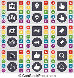 Contact, Checkpoint, Hand, Camera, Trumped, Marker, Survey, Like, Magnifying glass icon symbol. A large set of flat, colored buttons for your design. Vector