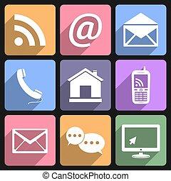 Contact & Communication Flat Icons