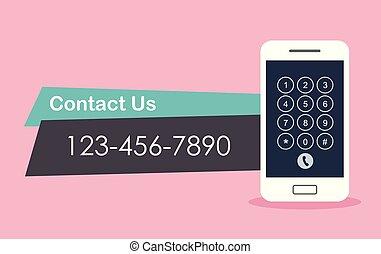 contact, concept., vecteur, illustration., nous