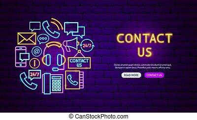 contact, conception, néon, bannière