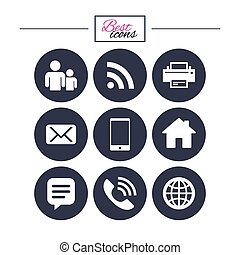 contact, courrier, icons., signs., communication