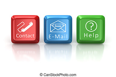 Contact , e-mail and help keyboard button