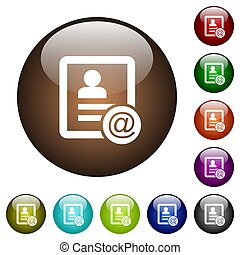 Contact email color glass buttons