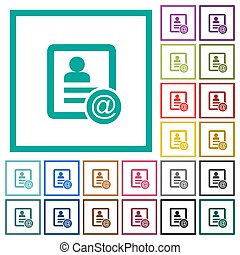 Contact email flat color icons with quadrant frames on white...