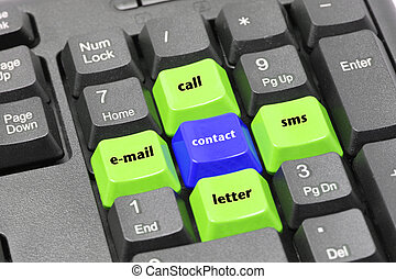Contact, email, letter, call, sms word on green, blue and black keyboard button