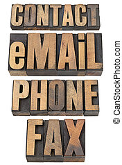 contact, email, phone, fax word set - contact, email, phone,...