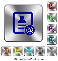 Contact email rounded square steel buttons
