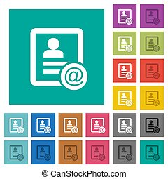 Contact email square flat multi colored icons