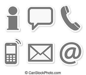 contact, ensemble, six, nous, icônes